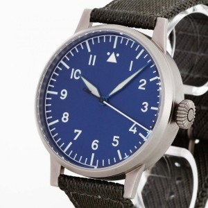 Laco Pilot Watch Beobachtungsuhr stainless steel with textile strap Ref. 127-560