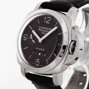 Panerai Luminor 1950 10 Days GMT Automatik Edelstahl an Lederband Ref. 6687