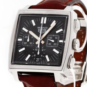 Heuer Monaco Chronograph Edelstahl an Lederband Ref. CS2111