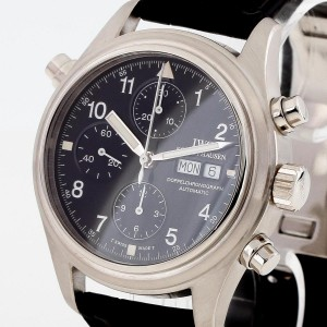 IWC Schaffhausen pilots double chronograph platinum with leather Ref. IW3711