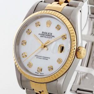 Rolex Oyster Perpetual Datejust 36 Edelstahl/18 K Gold mit Diamanten Ref. 16233