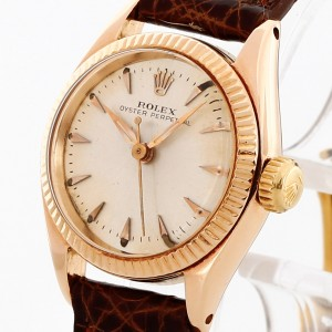 Rolex Oyster Perpetual Lady 18 K Rosegold mit Lederband Ref. 6619