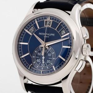 Patek Philippe Travel Time Pilot Calatrava white gold with leather strap Ref. 5524G-001