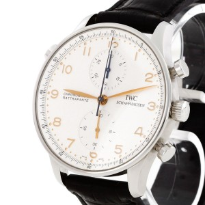 IWC Portugieser Chronograph Rattrapante stainless steel with leather strap Ref. IW 3712