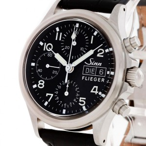 Sinn Fliegerchronograph with a black croco leather strap Ref. 356SA
