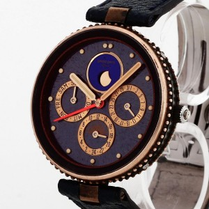 Gerald Genta Gefica Safari with dark blue leather strap