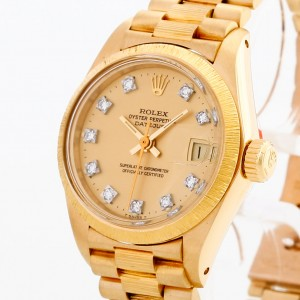 Rolex Oyster Perpetual Datejust Lady Borke 18 K Gelbgold mit Diamantzifferblatt Ref. 6927