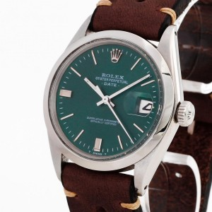 Rolex Oyster Perpetual Date Edelstahl an Lederband Ref. 1500