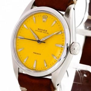 Rolex Oyster Precision mit gelbem Zifferblatt an braunem Lederband Ref. 6426