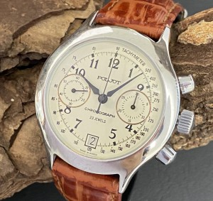 Poljot Chronograph stainless steel with croco leather strap