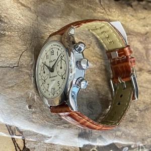 Poljot Chronograph Edelstahl an Lederband