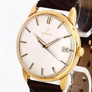 Omega Vintage 18 Karat Gold an braunem Lederband