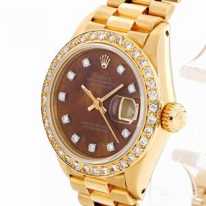 Rolex Oyster Perpetual Datejust Lady 18 K Gelbgold mit Holzblatt, Ref. 6917