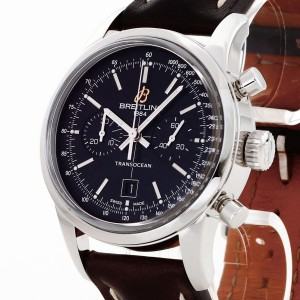 Breitling Transocean Chronograph 38 with leather strap Ref. A4131012/BC06