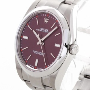"Rolex Oyster Perpetual 39mm Edelstahl ""Red Grape"" Ref. 114300"