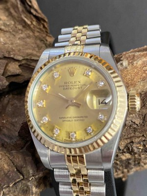 Rolex Oyster Perpetual Datejust Lady Automatik Edelstahl Gelbgold LC100 Ref. 69173