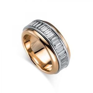 Ring 18 kt Rot-/Weißgold, 49 Baguette ca. 2,65 ct, Gr. 56