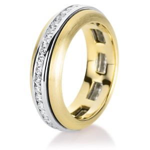 Ring yellow gold and white gold with brilliants ca. 1,00 ct, size 56