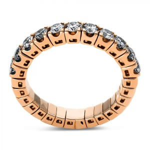 Ring 18 ct rose gold with 11 brilliants ca. 1,13 ct, size 53