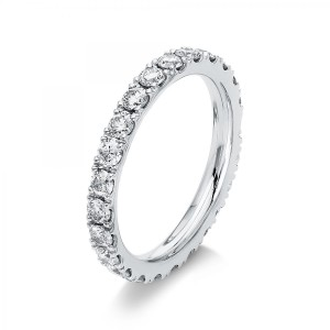 Ring 18 ct white gold with 24 brilliants ca. 1,43 ct, size 54