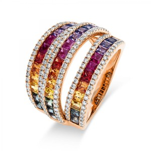 Ring 18 ct rosé gold with 154 brilliants ca. 0,73 ct and 38 sapphires ca. 2,97 ct, size 53