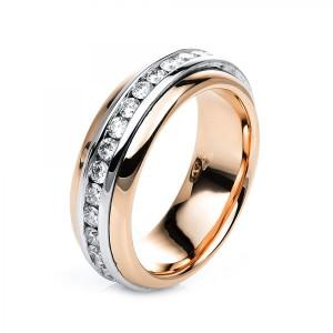 Ring 18 kt Rot-/Weißgold mit 32 Brillanten ca. 1,02 ct, Gr. 54