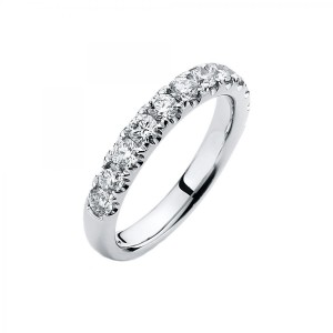 Ring 14 ct white gold with 12 brilliants ca. 1,00 ct, size 58