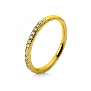 Ring 14 ct yellow gold with 25 brilliants ca. 0,14 ct, size 56