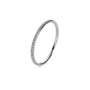 Ring 14 ct white gold with 31 brilliants ca. 0,10 ct, size 56