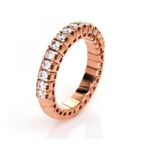 Ring 18 ct red gold with 15 brilliants ca. 0,71 ct, size 53
