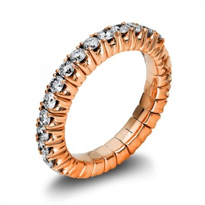 Ring 18 rose gold with 15 brilliants ca. 0,89 ct, size 53