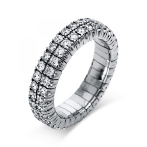 Ring 18 ct white gold with 64 brilliants ca. 1,78 ct, size 53