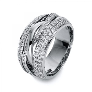 Ring 18 ct white gold with 182 brilliants ca. 1,07 ct, size 55