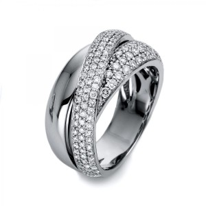 Ring 18 ct white gold with 143 brilliants ca. 1,17 ct, size 55