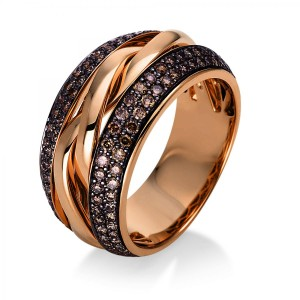 Ring 18 ct red gold with 146 brilliants ca. 0,88 ct, size 55