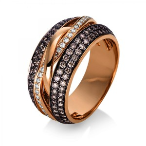 Ring 18 ct red gold with 36 brill. ca. 0,22 ct and 146 brill. ca. 0,88 ct