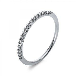 Ring 18 ct white gold with 19 brilliants ca. 0,14 ct, size 54