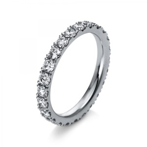 Ring 18 ct white gold with 24 briliants ca. 1,51 ct, size 54