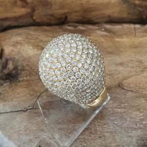 Kugel Ring 18k Gelbgold mit 10,5 ct Brillanten