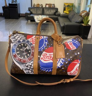 """Louis Vuitton Keepall 45 with shoulder strap """"Pepsi"""" Travel Bag"""