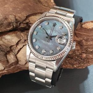 Rolex Datejust 36mm DARK PEARL DIAMOND DIAL FULL SET LC100 Ref. 16234