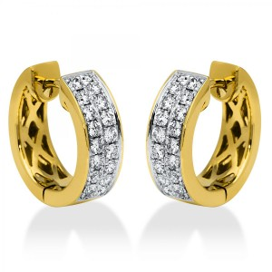 Hoop earrings 18 ct white-/yellow gold with 36 brilliants ca. 0,59 ct