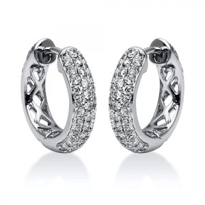 Hoop earrings 18 ct white gold with 68 brilliants ca. 0,90 ct