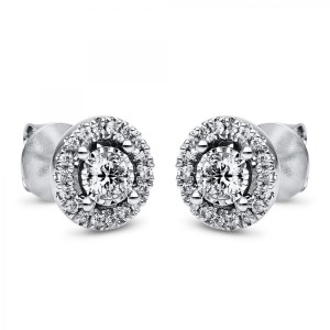 Ear stud 18 ct white gold 38 brilliants ca 0,70 ct