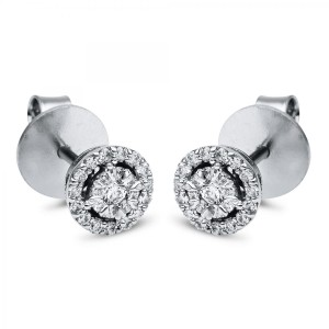 Ear stud 18 ct white gold with 48 brilliants ca. 0,26 ct