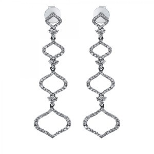 Ear jewellery 18 ct white gold with 186 brill. ca. 0,81 ct