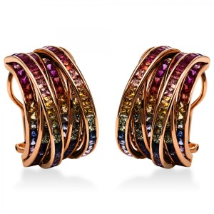 Ear jewellery 18 ct rose gold with 33 rubies ca. 1,81 ct and 219 sapphires ca. 12,82 ct