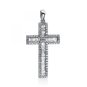 """Pendant """"Cross"""" with loop, 18 ct white gold and diamonds"""