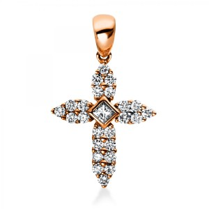 """Pendant """"Cross"""" with loop, 18 ct rose gold with Princess and brilliants"""