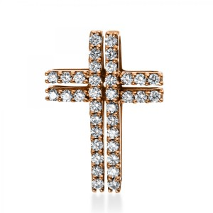 "Pendant ""Cross"" 18 ct rose gold with 36 brilliants ca. 0,79 ct"